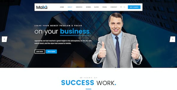 Malia - Finance, Business & Consulting PSD Template