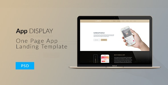 App Display - One Page Parallax App Landing PSD Template - Creative PSD Templates