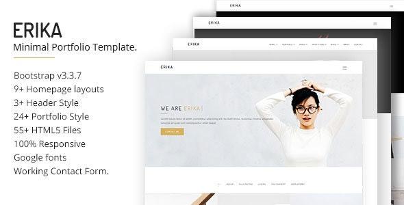 Erika Minimal Portfolio Template - Creative Site Templates