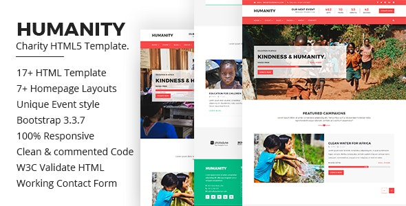 Humanity – Charity HTML5 Bootstrap Template - Nonprofit Site Templates