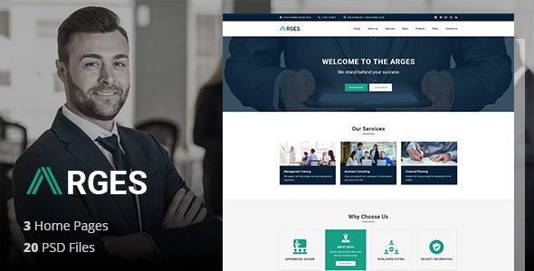 Arges Corporate - Business, Professional and Consulting Services PSD Template - Business Corporate
