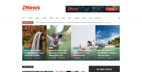 ZNews - News, Blog & Magazine PSD Template