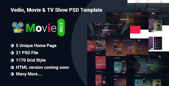 MOVIE STAR  - Online Movie, Video & TV Show PSD Template - Film & TV Entertainment