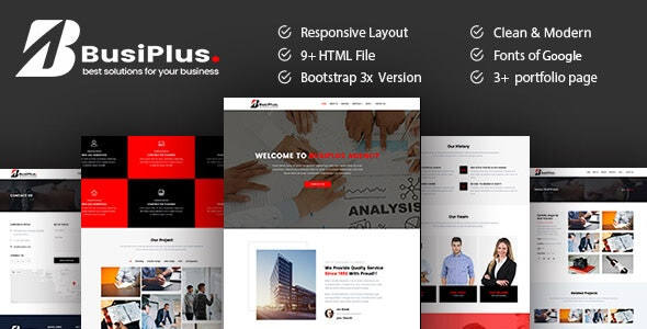 Busiplus - Corporate Business HTML5 Template - Corporate Site Templates