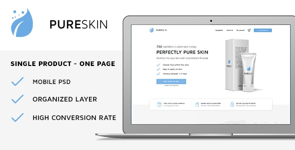 PureSkin - Single Product / Ecommerce / Bootstrap / PSD Template - Health & Beauty Retail