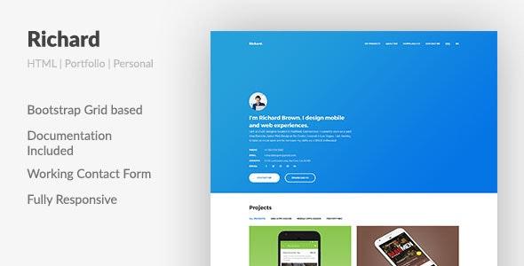 Richard Ux Designer Resume Portfolio Html Template By Aspirity Themeforest