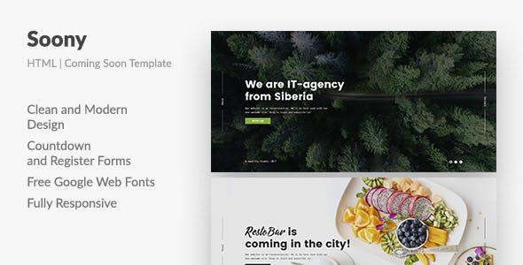 Soony — Powerful Coming Soon HTML Template