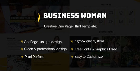 Business Woman– Creative One Page HTML Template. - Business Corporate