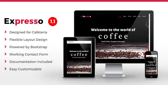 Expresso - Cafe HTML Template - Restaurants & Cafes Entertainment