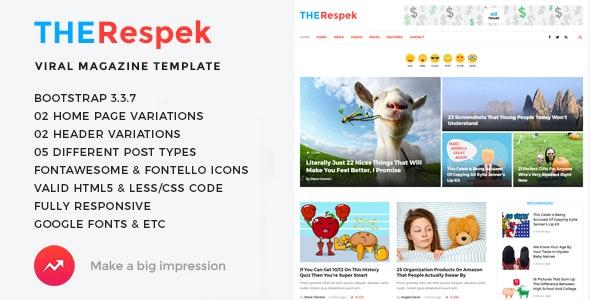 TheRespek - Viral Bimber, Buzzy Magazine HTML5 Template - Entertainment Site Templates