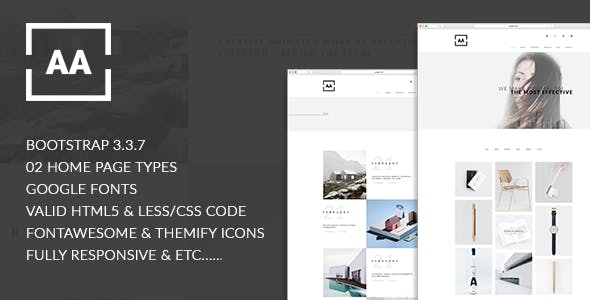 AA - Creative, Minimal, Stunning Designed Responsive HTML5 Portfolio Template