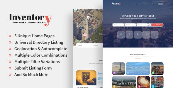 Inventory - Responsive Directory Geolocation & Listings HTML5 Template