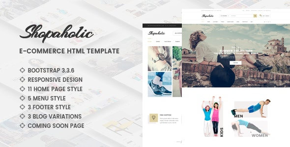 Shopaholic - Responsive Multipurpose eCommerce HTML5 Template - Retail Site Templates