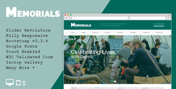 Memorials - Funeral & Cemeteries HTML5 Template - Business Corporate