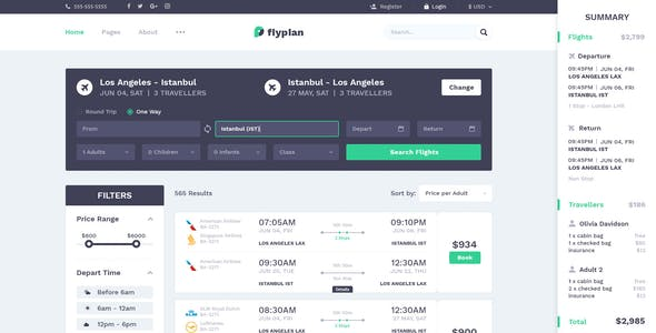 FlyPlan - Air Ticket Booking System PSD Kit