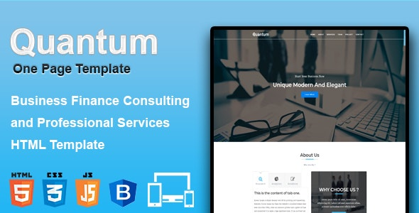 Quantum - Multipurpose One Page Business Template - Corporate Site Templates