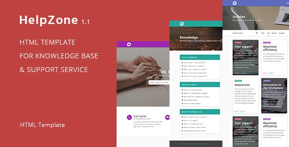 HelpZone – Knowledge Base / Support HTML Template - Software Technology