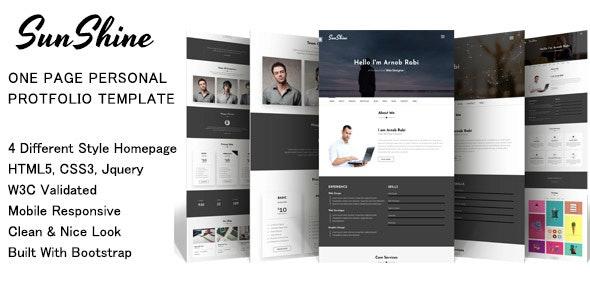 SunShine - one page personal portfolio template - Portfolio Creative