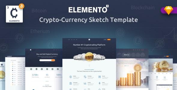 Cryto-Elemento | bitcoin Template for Sketch - Corporate Sketch