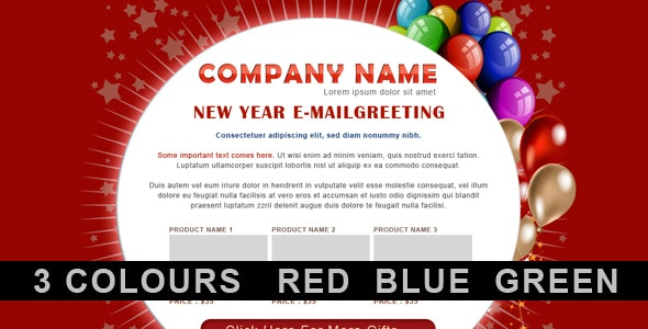 New Year Greetings / Birthday Greetings - 3 COLORs - Newsletters Email Templates