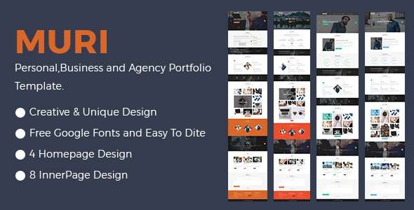 MURI- Multipurpose Business Agency and Personal Portfolio Template - Creative Photoshop