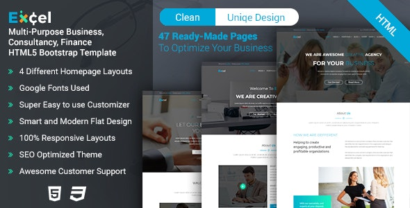 Excel - Multi-Purpose Business, Consultancy, Finance HTML5 Bootstrap Template - Corporate Site Templates