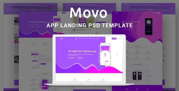 Movo App Landing PSD Template - Creative Photoshop