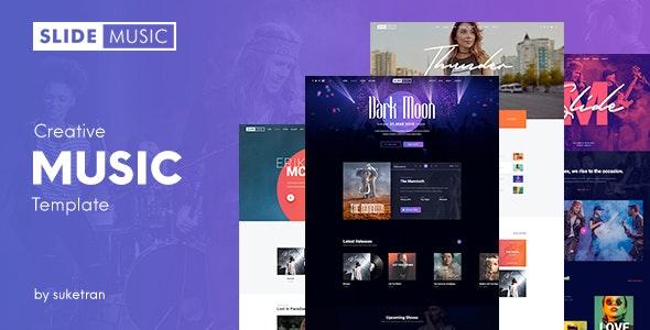 Slide - Creative Music PSD Template - Entertainment Photoshop