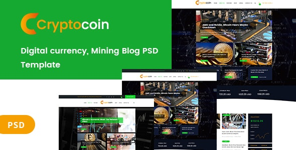 Digital currency and mining blog PSD Template - Corporate Photoshop