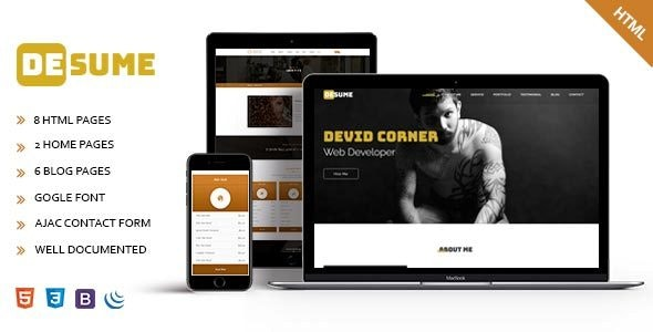 Desume - Onepage CV/Resume HTML Template - Portfolio Creative