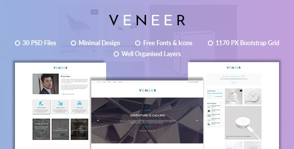 Veneer Blog | Minimal eCommerce Blog PSD Template - Creative Photoshop