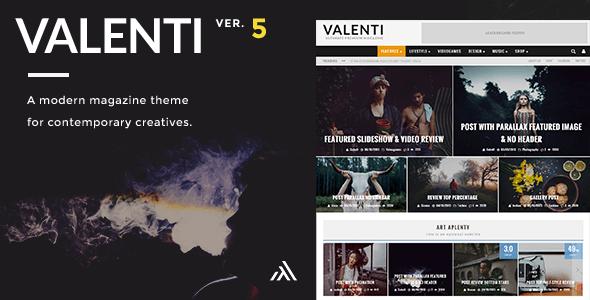 Valenti - WordPress HD Review Magazine News Theme - News / Editorial Blog / Magazine