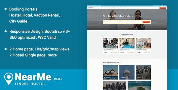 Nearme - Hostel Accommodation Booking Responsive Templates