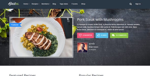Gustos - Community-Driven Food Recipes with Front-end Submission System