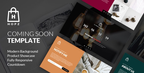 Hopz - eCommerce Coming Soon HTML Template - Under Construction Specialty Pages