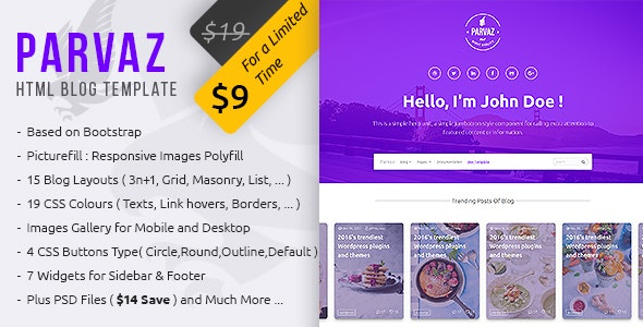 Parvaz - Personal Blogging HTML Template - Personal Site Templates
