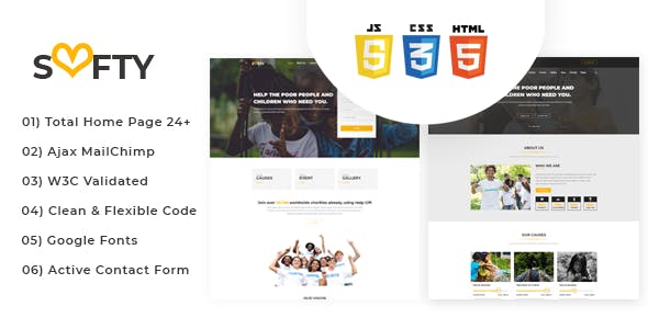 Softy - Charity, Non Profit, Fund Raising HTML Template