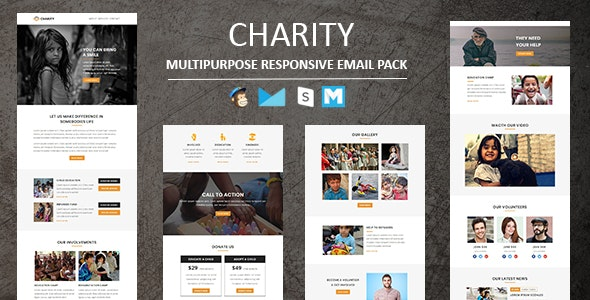 Charity -  Responsive Email Template With Stamp Ready Builder Access - Newsletters Email Templates