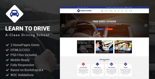 LearnToDrive | Driving School & Lessons HTML5 Template - Miscellaneous Site Templates
