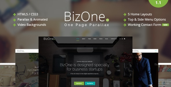 BizOne - One Page Parallax - Corporate Site Templates