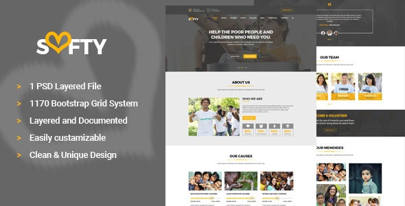 Softy Charity PSD Template - Charity Nonprofit