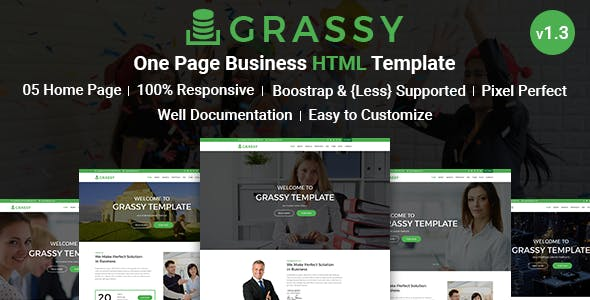Grassy - Business, Corporate and  Finance One Page HTML5 Template