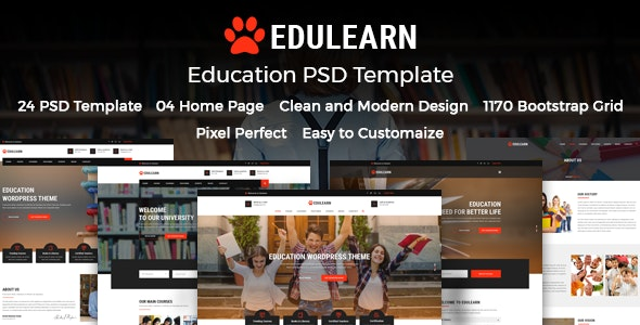 Edulearn - Education PSD Template - Corporate Photoshop