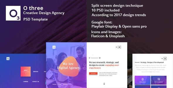 O three - creative design agency PSD template - Creative Photoshop