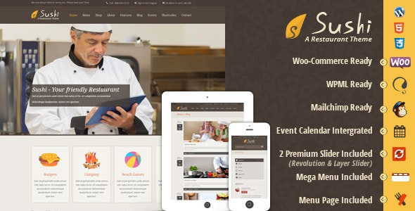 Sushi Restaurant WordPress - Food Retail