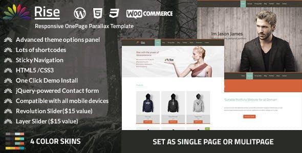 Rise   OnePage Portfolio WordPress Theme
