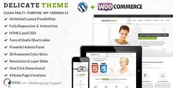 Delicate - Multipurpose Responsive HTML5 Template - Corporate Site Templates