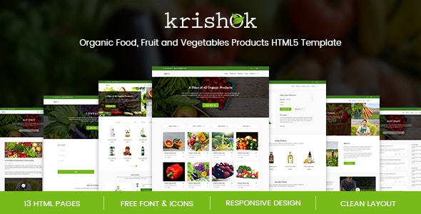Krishok - Organic Food, Fruit and Vegetables Products HTML5 Template - Food Retail