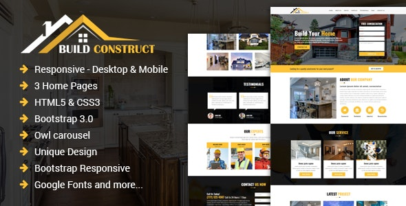 Build Construct - One Page Construction HTML Template - Corporate Landing Pages