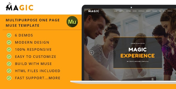 Magic - One Page Multipurpose Muse Template - Muse Templates